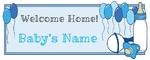 Welcome Home New Baby Boy 60 x 24 Horizontal